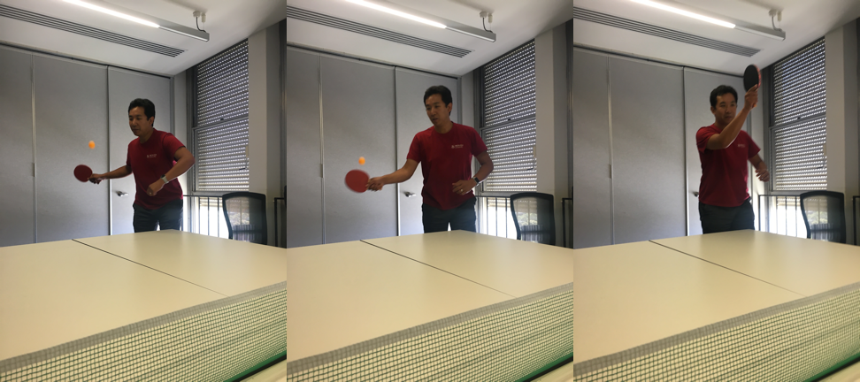 Roger Peng is playing table tennis